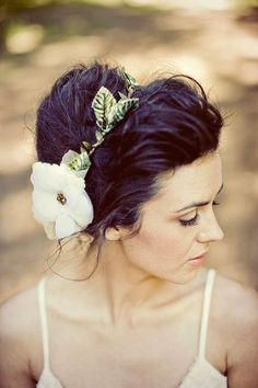 Love this instead of a veil....Nature girl halo in ivory style C101 by mignonnehandmade on Etsy, $66.00