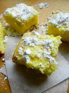 I feel like making these today! ~ TWO INGREDIENT LEMON BARS! 1 box angel food cake mix and one can lemon pie filling. mix together and bake at 350 for 30 minutes. AND they're only 168 calories