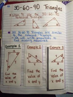 I teach Special Right Triangles using proportions. My students create 2 notecards: one with a 45-45-90 unit trian...