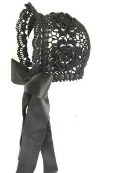 Black bonnet.Crochet bonnet. Beanie. Baby by HandmadebyNadiyaK