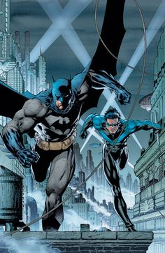 "Official DC Comics Jim Lee Collection Batman And Nightwing artwork by artist ""DC Comics"". Part of a set featuring characters from the popula … – image pin 1 Nightwing, Batwoman, Batgirl, Jim Lee Batman, Batman Robin, Batman Comic Art, Batman Batman, Batman Artwork, Marvel Comics"