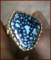 Lander Blue Spiderweb Turquoise in a Charles Loloma Ring ca. 1975