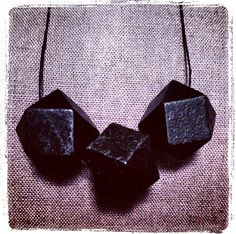 All Wood Black Painted Polyhedron Necklace with black waxed linen cord. On 32 cord. Rests 16 on chest.