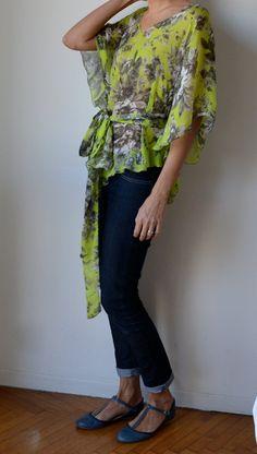 Chartreuse silk caftan top blouse Floral Size M by MuguetMilan