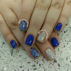 Blue nails with silver glitter. Chevron nails