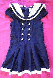 2013 Size 7 GYMBOREE Blooming Nautical Sailor Dress, Pleated Pique, Navy Blue VGC. $9.99