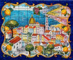 Vietri Sul Mare Italy - Hand Painted Mosaic Tiles - Original Design - Gloss Tiles - Table Top Insert - Wall Tiles - Backsplash Tiles -