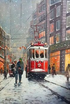 Best restaurant in Istanbul – Winter Holiday Ideas Art Watercolor, Watercolor Landscape, Landscape Paintings, Istanbul City, Pics Art, Winter Painting, Turkish Art, Winter Scenes, Pictures To Paint