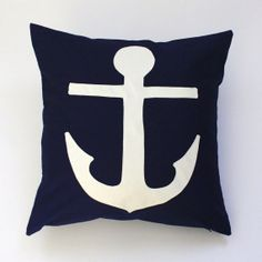 Nautical Anchor Decorative Throw Pillow Cover White, Blue, Black, or Red ORGANIC Canvas