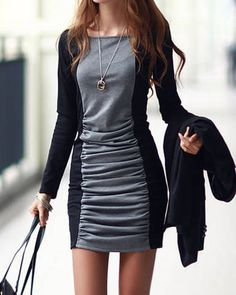 Square Neck Long Sleeves Color Splicing Pleated Casual Dress For Women