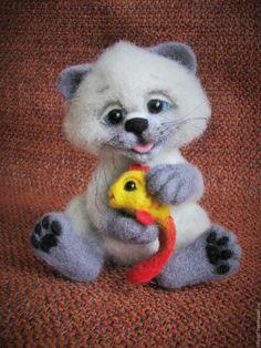 """Игрушки животные, ручной работы. Ярмарка Мастеров - ручная работа. Купить """"Коржик."""". Handmade. Серый, котенок валяный"""