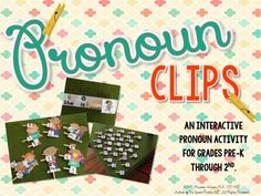 These Pronoun Clips are easy to use, quick to print and helpful in your classroom!  An interactive activity for pre-K through 2nd grade, this will be loved by your students in speech therapy, special education or English Language Arts!  Play today! #play #ELA #SLP #therapist #SPED #printable #LowPrep #elementary #craftivity #game