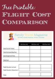 Free printable and tips! Flight Cost Comparison