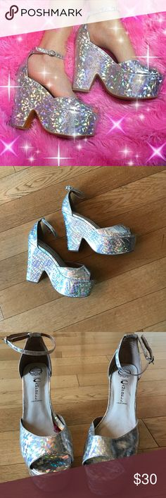 RARE Jeffrey Campbell Brazen hologram platforms Extremely rare pair of Jeffrey Campbell hologram platform. Signs of wear shown in pictures. Very comfortable AND a statement piece Jeffrey Campbell Shoes Platforms
