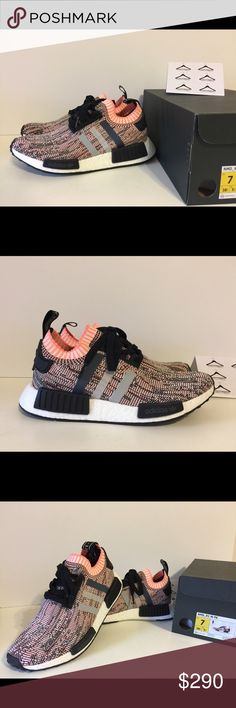 NWT Adidas NMD_R1 Primeknit Light Onix size us6, 7 (womens). These shoes run large so please order full size down. 100% AUTHENTIC GUARANTEED! Adidas Shoes Athletic Shoes