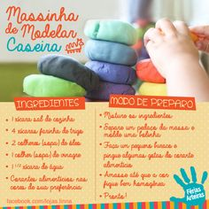 Massinha de Modelar Caseira - Lojas Linna                                                                                                                                                                                 Mais Baby Play, Baby Kids, Organize Life, Baby Education, Diy Toys, My Baby Girl, Kids And Parenting, Diy For Kids, Kids Playing