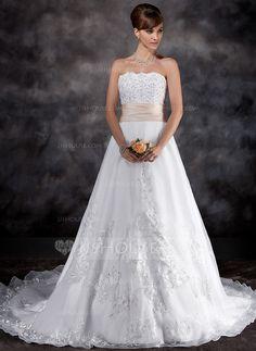 Vestidos de noiva - $216.99 - Vestidos princesa/ Formato A Sem Alças Trem da capela Organza de Cetim Vestido de noiva com Renda Cintos Bordado (002016926) http://jjshouse.com/pt/Vestidos-Princesa-Formato-A-Sem-Alcas-Trem-Da-Capela-Organza-De-Cetim-Vestido-De-Noiva-Com-Renda-Cintos-Bordado-002016926-g16926?ver=1