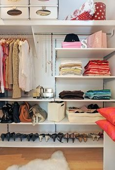 Closet organizing ideas. Love the shelves!  I'm better with shelves than drawers.
