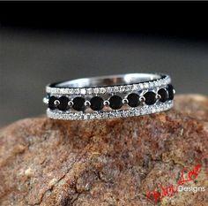 Black & White Diamond Almost Eternity Band ring 14k Gold white-yellow-rose-Custom made your size-Wedding-Engagement-Anniversary-Layaway 18k $489