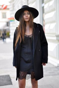 daytime6 - black slip dress with lace details boyfriend blazer and wide trimmed hat fashion blogger streetstyle how to wear a slip dress srping summer 2016 trend