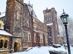University of Toronto's UC College, in all of it's snowy glory. Canada Snow, Toronto Architecture, Emma Rose, University Of Toronto, Toronto Canada, The Province, Winter Holidays, Cn Tower, School Stuff