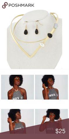 "Gold Solar Choker Necklace Set Gold Tone/ Black Acrylic/ Lead&Nickel Compliant/ Metal/ Fish Hook (earrings)/ Choker Style/ Length: 18""/ Earrings: 1 1/4"" / Drop: 1 1/2 R.E.A.L Jewelry Jewelry Necklaces"