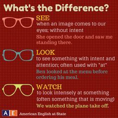"In English, the words ""see,"" ""look,"" and ""watch"" have similar meanings. Thus, it can be difficult to know which one to use sometimes. Check out this American English at State graphic to help you understand the different meanings of these three words! English Verbs, Learn English Grammar, English Vocabulary Words, Learn English Words, English Phrases, Grammar And Vocabulary, English Language Learning, Teaching English, Grammar Lessons"
