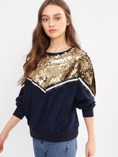 SheIn offers Sequin Detail Striped Sweatshirt & more to fit your fashionable needs. Girl Fashion, Fashion Outfits, Daily Fashion, Painted Denim Jacket, Hippy Chic, Sweatshirts Online, Kawaii Clothes, Sporty Look, Indian Designer Wear