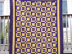 This quilt is 66x80 inches. It is made out of 32 bags. The blocks of the quilts are out of the rest of the bags. The gold material and the purple material used in the boarder are 100% cotton. I machine quilted it with purple thread. The back of the quilt is a solid black poly cotton material. | eBay!