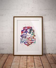 Gryffindor Crest Watercolor Art Poster Print Harry Potter Fan Art Wall Decor