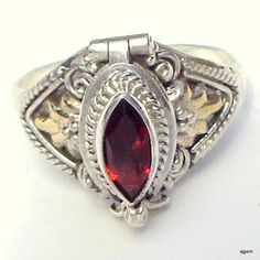 VintageMarquoise Garnet Poison Ring Ornate by Steampunkitis
