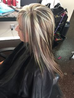 Chunky hilights and lowlights with a layered cut..