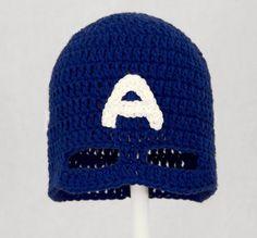 Captain America Mask Hat, Blue Crochet Superhero Beanie, send size