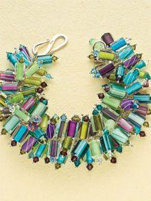 Anemone Bracelet Tutorial - www.interweaveshop.com Idea: overload chain link bracelet with the glass beads from Peru