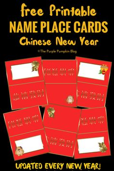 These free printable name place cards for Chinese New Year are great for places settings at a dinner party, or food labels at a buffet party. Chinese New Year Decorations, New Years Decorations, Christmas Party Decorations, Christmas Fun, New Year Printables, Party Printables, Free Printables, Purple Pumpkin, Name Place Cards