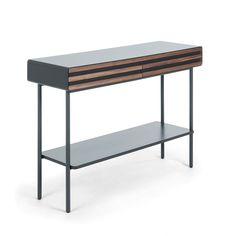 Have your everyday essentials located in one place like Mahon Console Table – Walnut. Featuring plenty of storage for your belongings, this console tabl. Consoles, Furniture Decor, Furniture Design, Wooden Console Table, Veneer Panels, Urban Decor, Low Shelves, Walnut Veneer, Types Of Wood