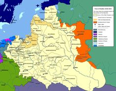 Map of Poland-Lithuania at its greatest extent, following the Truce of Deulino (signed on 11 December 1618, in effect on 4 January 1619), which concluded the Polish–Muscovite War (1605–1618) between the Polish–Lithuanian Commonwealth and the Tsardom of Russia.