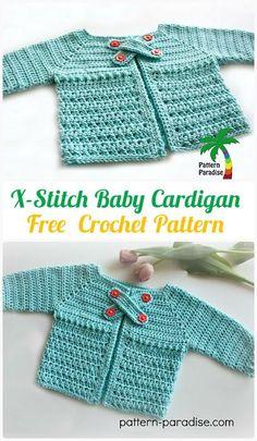 CrochetX-StitchBabyCardigan Free Pattern - #Crochet Kid's Sweater Coat Free Patterns