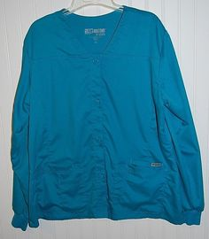Grey's Anatomy Women's XL Scrub Lab Coat Long Sleeve Button Teal #GreysAnatomy