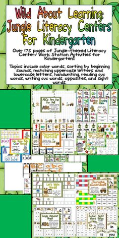 Over 175 pages of Jungle-themed Literacy Center/ Work Station Activities for Kindergarten!! There are activities to use throughout the entire school year!   Topics include color words, sorting by beginning sounds, matching uppercase letters and lowercase letters, handwriting, reading cvc words, writing cvc words, opposites, and sight words.  Click for more details :)