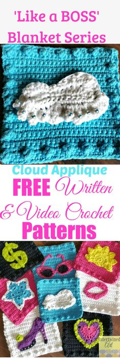 """Free written pattern and video tutorial for a Cloud Applique. """"Like a Boss"""" Blanket Series Crochet Cloud Square Pattern."""