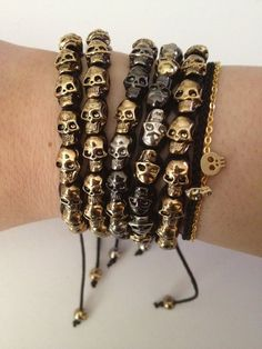 Black Metallic Gold Silver Pewter Skull Macrame Bracelet - Arm Party - Celebrity Favorite Skulls. $25.00, via Etsy.