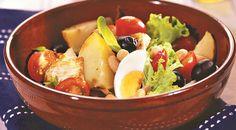 Салат с печеным картофелем и белой фасолью