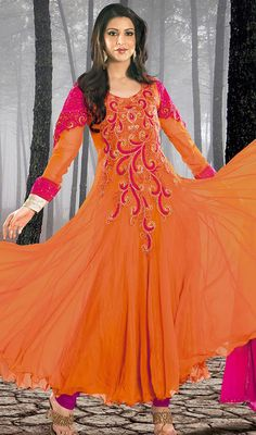 Orange and Magenta Georgette Flared Anarkali Suit Price: Usa Dollar $138, British UK Pound £81, Euro102, Canada CA$150 , Indian Rs7452.