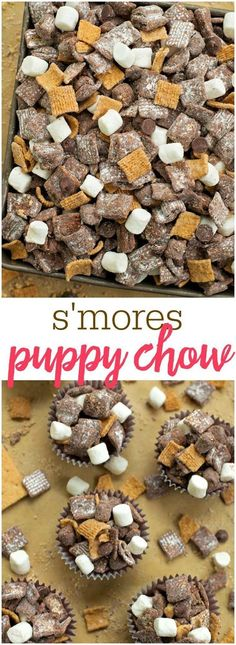 Muddy Buddies S'mores Puppy Chow - filled with chocolate, golden grahams and marshmallows - one of the best treats you'll make!S'mores Puppy Chow - filled with chocolate, golden grahams and marshmallows - one of the best treats you'll make! Puppy Chow Recipes, Snack Mix Recipes, Yummy Snacks, Delicious Desserts, Dessert Recipes, Yummy Food, Snack Mixes, Party Recipes, Rice Recipes