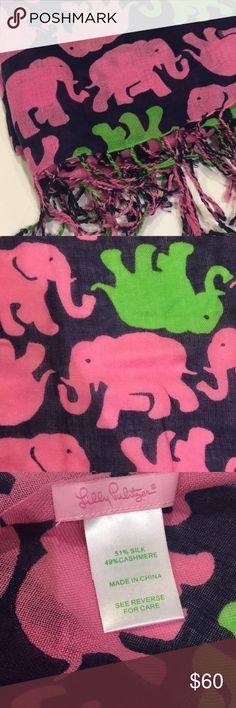 """Lilly Pulitzer """"Murfee Scarf"""" - Tusk in Sun Never worn!!                                                                        We're convinced: this cashmere silk scarf brings endless styling opportunities. This will be the softest printed scarf you will ever touch. It's a great one-sized gift and perfect to spruce up an otherwise bland outfit. A Murfee is a great way to wear your favorite Lilly prints year-round. Like we said, the opportunities are endless! Printed Scarf (49% Cashmere, 51%…"""