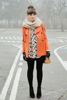 Orange-chicwish-coat  #CHICWISH