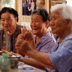 BELONG, LIVE LONGER -- These Okinawan women have been friends for 97 years. They are all over 100. They meet each evening at 5:00, drink sake, gossip and occasionally talk sex. If one doesn't show up, the others don kimonos, shuffle across the village an check up on their missing friend--no need for long-term care insurance!  Their committed social network--called a moai--is worth up to 8 extra years of life expectancy compared to a life of isolation.
