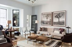Layered and masculine living room