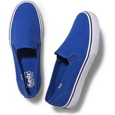 Keds Double Decker Juicy ($50) ❤ liked on Polyvore featuring shoes, sneakers, blue, slip on sneakers, flexible shoes, keds sneakers, slip-on shoes and slipon shoes